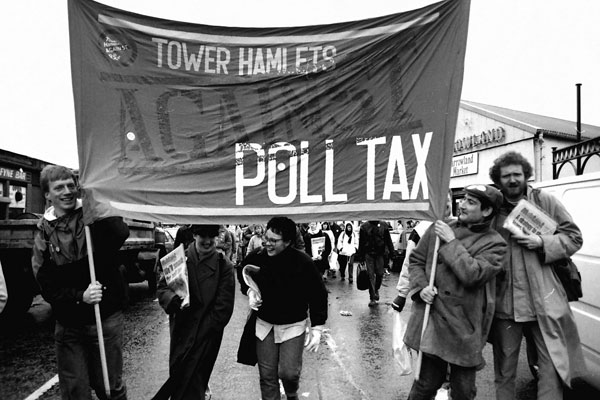 Tower Hamlets activists at a Glasgow demonstration against the tax, 1990