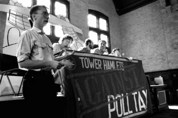 Public organising meeting against the Poll Tax. The Davenant Centre, East London