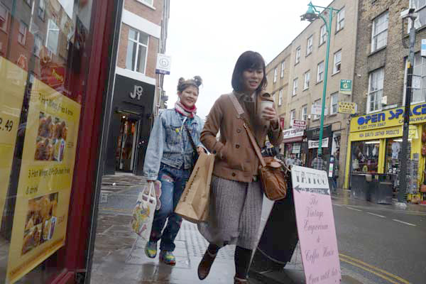 Two young women on Brick Lane, 2012