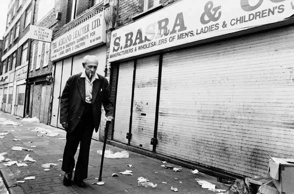 Man with walking stick. Brick Lane, London c.1984
