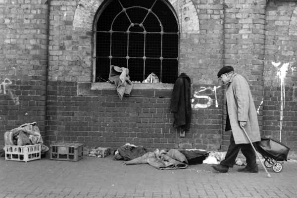 Man with a cap at Bishopsgate Goods Yard, London c.1999
