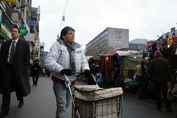 Woman shopping in Whitechapel 2012