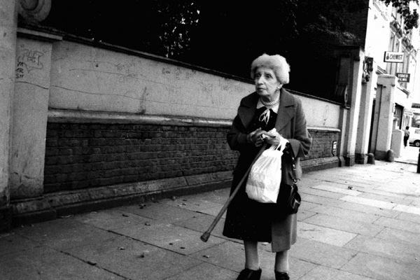 Woman on Commercial Road, London c. 1995