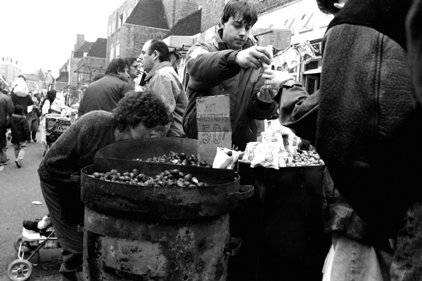 Hot Chestnuts for sale on Petticoat Lane, London c. 1986