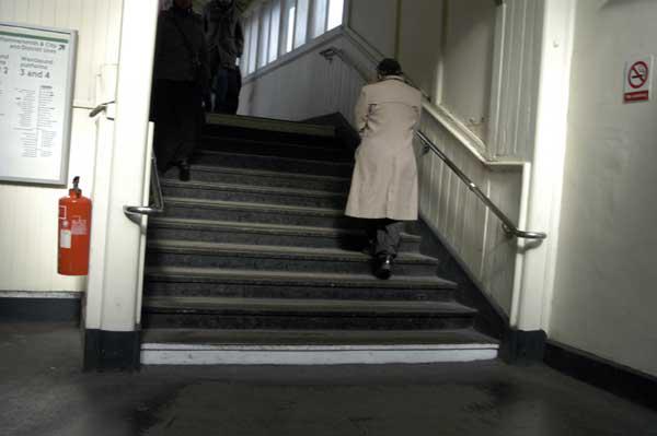 Walking up to the platform, Whitechapel 2009