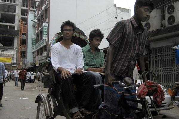 Rickshaw with two passengers, Dhaka 2008