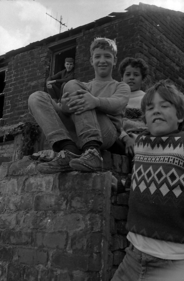 Boys in slum clearance area, Liverpool 1980