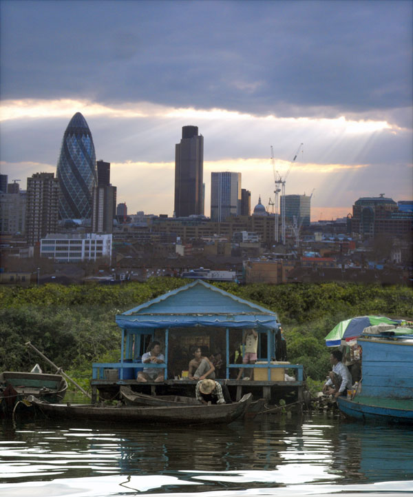 Cambodia and East London, photomontage 2009