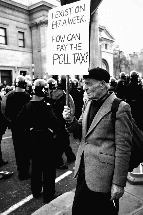 Anti Poll Tax demo. Trafalgar Square 1990