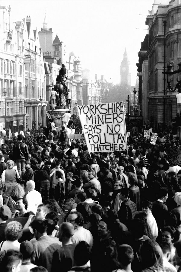 Poll Tax Demo with Yorkshire Miners banner, Trafalgar Square 1990