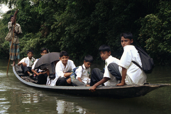 River boat taking school boys to school in Sylhet, 1996