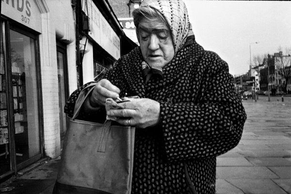 Woman on Whitechapel Road, c. 1985