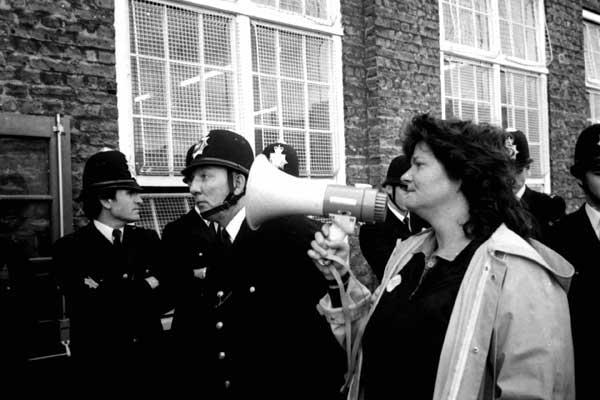 Anti BNP demo outside John Scurr school c. 1984