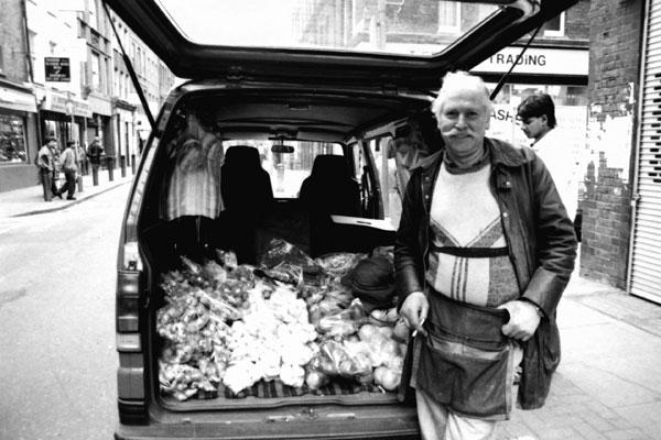 Michael selling vegetables, Brick Lane c. 1995