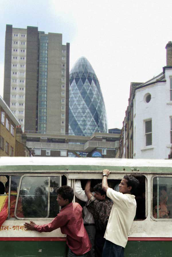 London and Dhaka. Photomontage 2010.