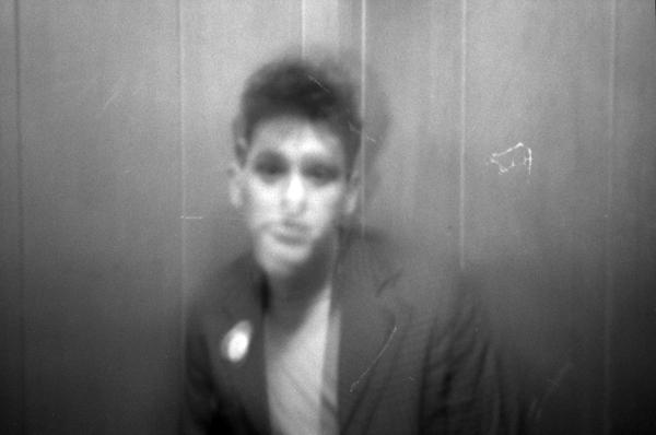 Portrait in a lift, Whitechapel c.1985