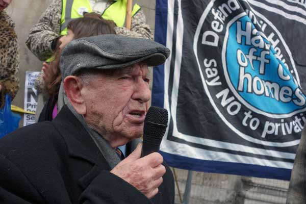 Max Levitas at a recent demonstration calling for affordable social housing 2015