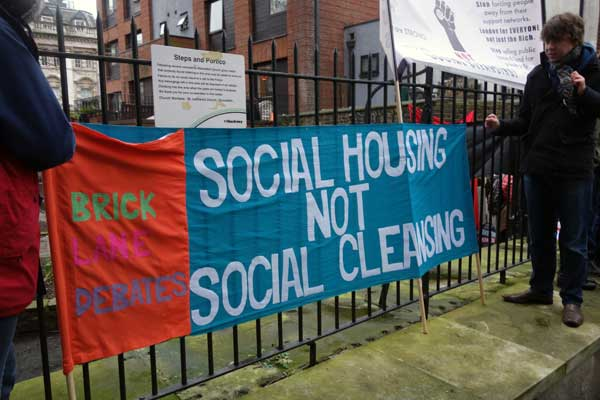 A recent demonstration calling for affordable social housing 2015
