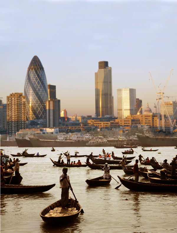 Photomontage: London & Dhaka 2010