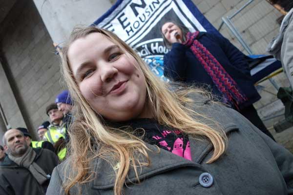 Demonstrator against Austerity Shoreditch 2015