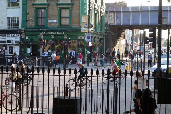 Looking out from St John towards Cambridge Heath Road & Bethnal Green road 2016r