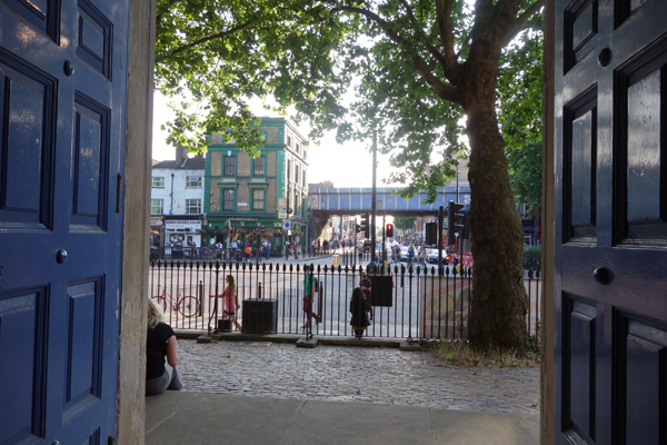 Looking out from St John towards Cambridge Heath Road & Bethnal Green road 2016