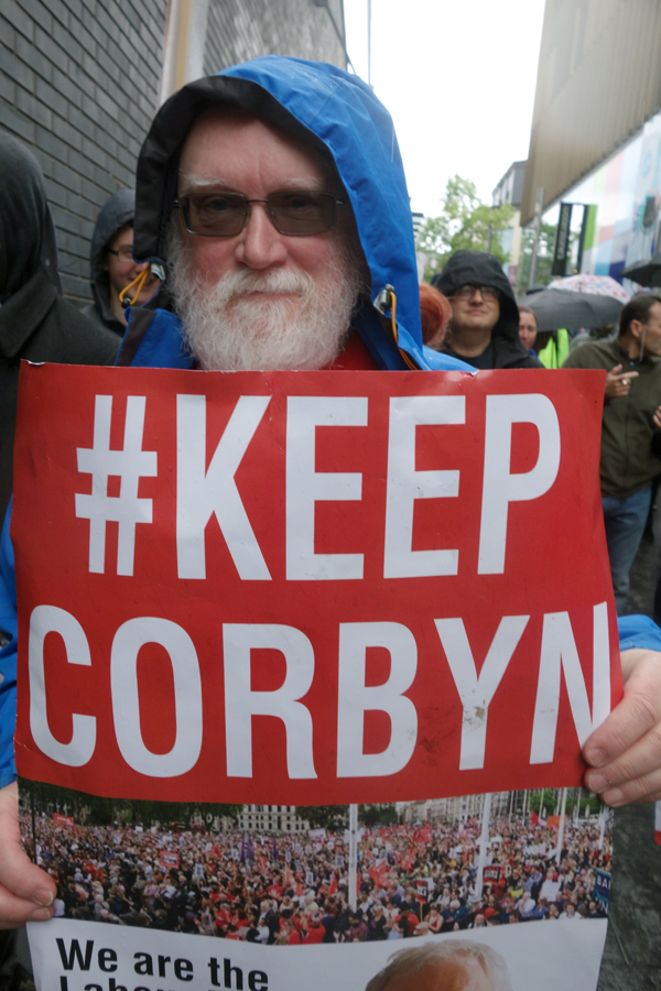 Corbyn supporter on the way to Church Street