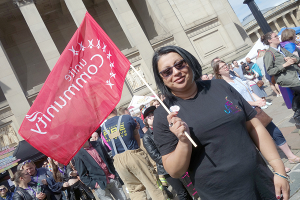 A Unite member at Liverpool Pride 2016