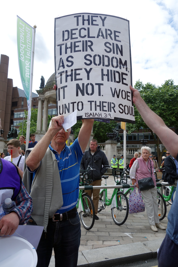 Protesters at Liverpool Pride 2016
