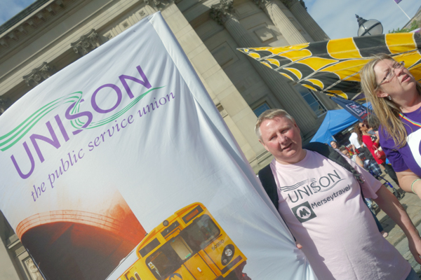 A Unison member at Liverpool Pride 2016