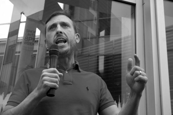 Ross Quinn (Unite) speaking outside BBC Radio Merseyside