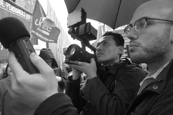 Hazuan Hashim (camera) & Michael Hayden (sound) outside BBC Radio Merseyside