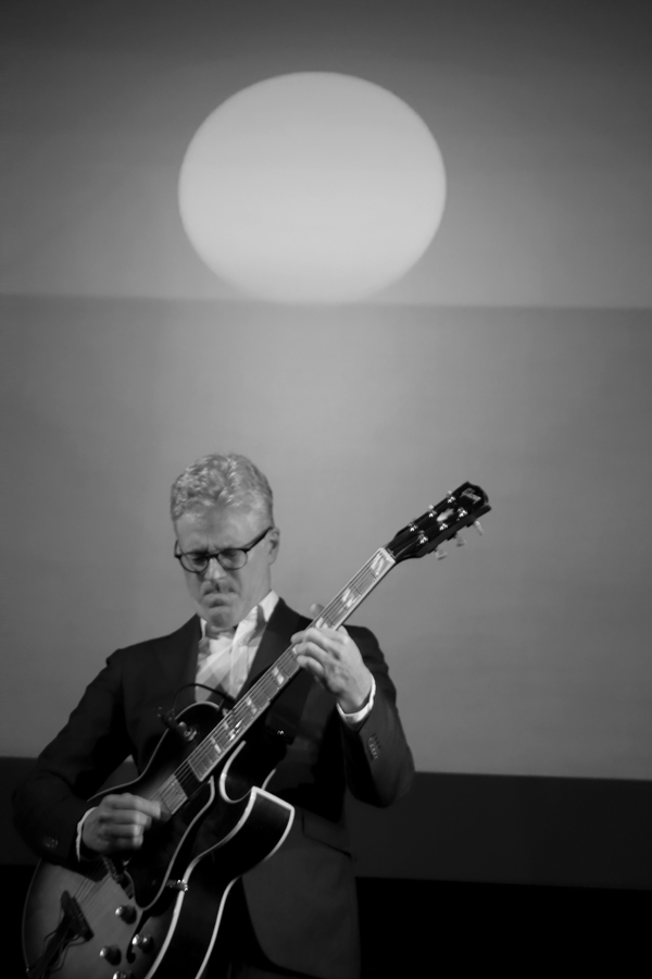 """Guitarist Mats Bergstrom performing """"Electric Counterpoint'"""