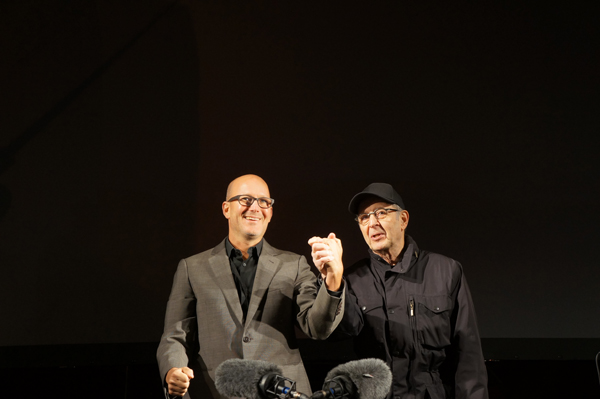 Bill Morrison & Steve Reich  on stage after the performance