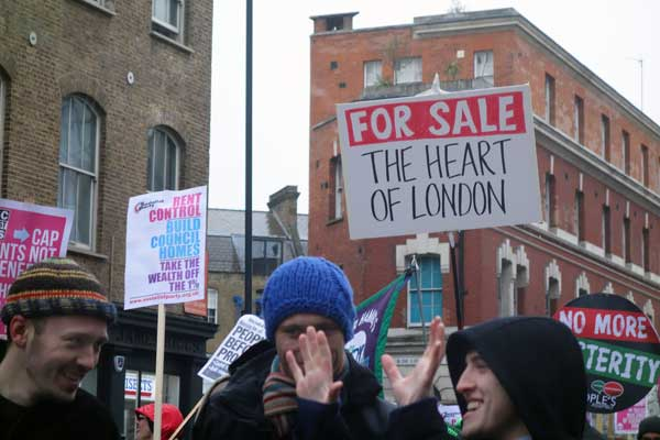 Housing campaigners on the march 2015