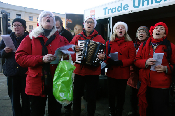 Singing to save the Liverpool Women's hospital, 2016.