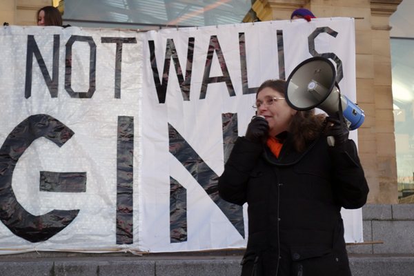 Campaigner Felicity Dowling, Trump inauguration day protest, Liverpool 2017