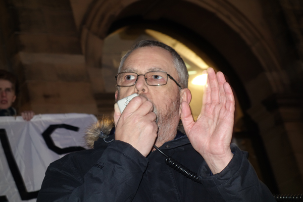 Campaigner and author Alan Gibbons. Trump inauguration day protest, Liverpool 2017