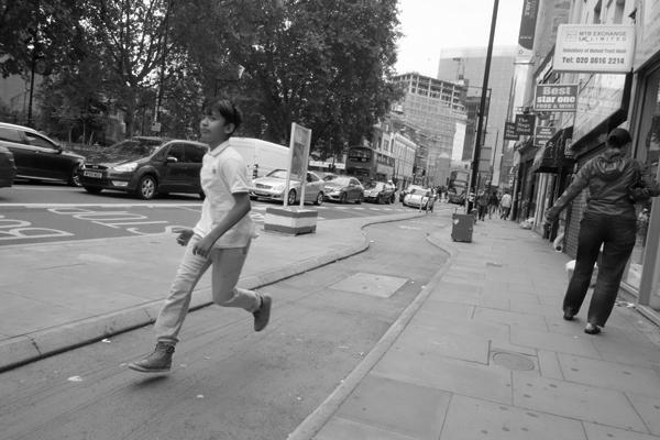 Boy running, Whitechapel 2015
