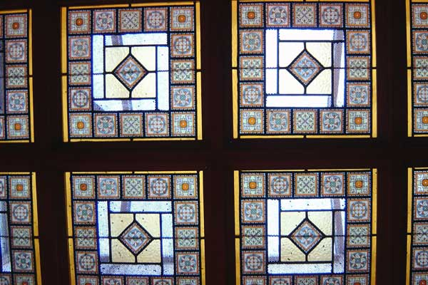 Stained glass in a pub. Dublin, Ireland 2004