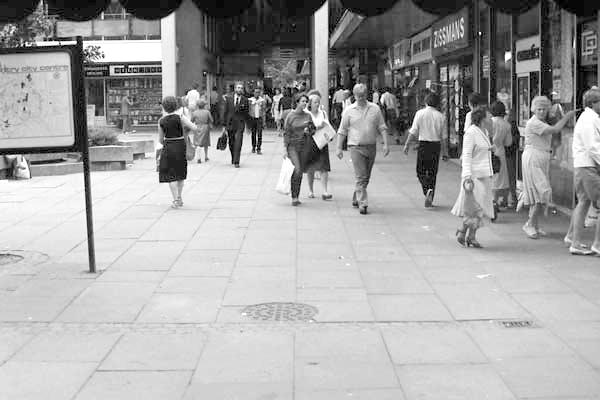 Shopping precinct, Coventry 1987.