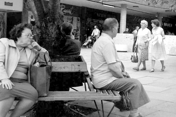 Seated. Shopping precinct, Coventry 1987.
