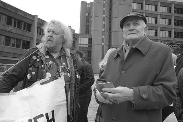Tony Mulhearn (right) from the Merseyside Pensioners Association. Liverpool March 2017.