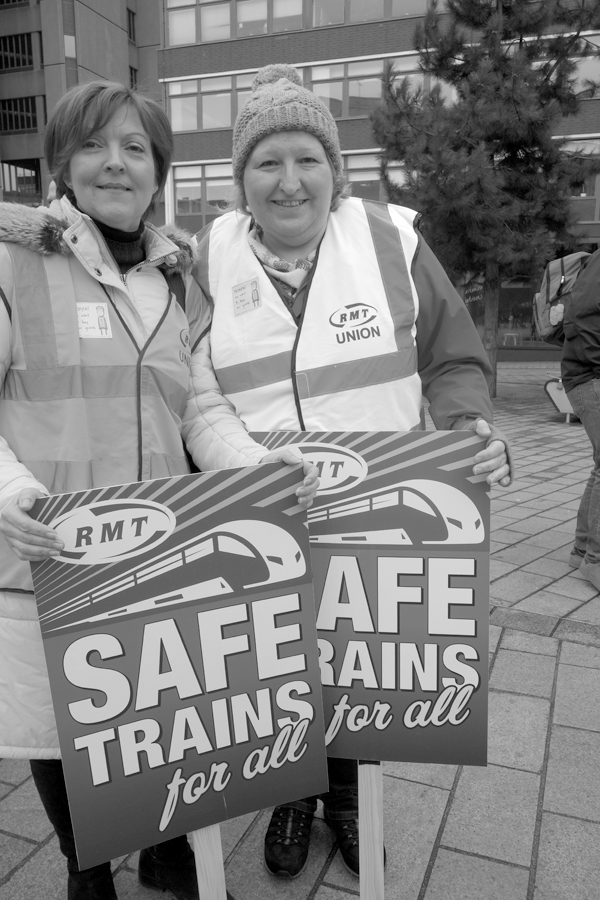 RMT members. Demonstration in support of Martin Zee. Derby Square.