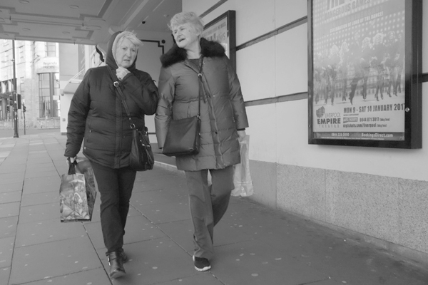 Two women. Lime Street, Liverpool 2017