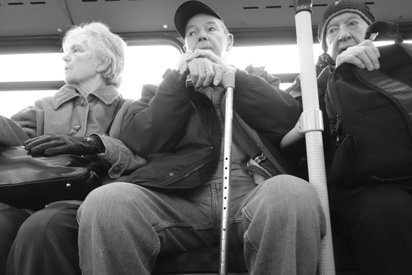 Pensioners on a bus. Liverpool 2017.