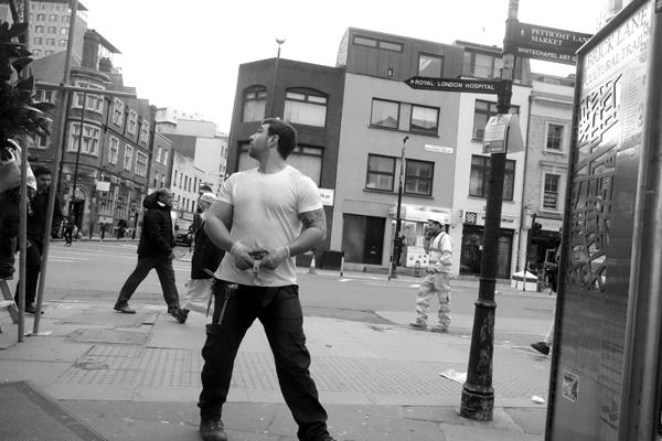 Builder. Osborn Street, East London 2016.