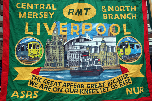 RMT. Trade Union Banner. Lime Street station, Liverpool.