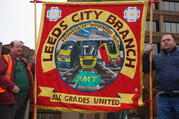 RMT banner from Leeds. Liverpool 2017.