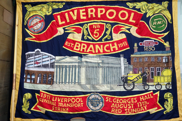 Trade Union Banner. Lime Street station, Liverpool.